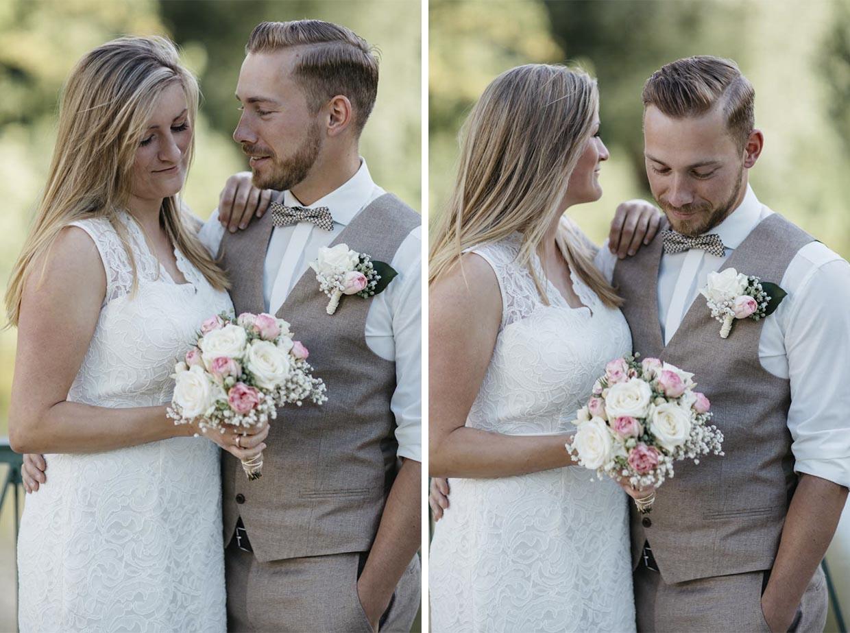Brautpaar steht sehr eng nebeneinander