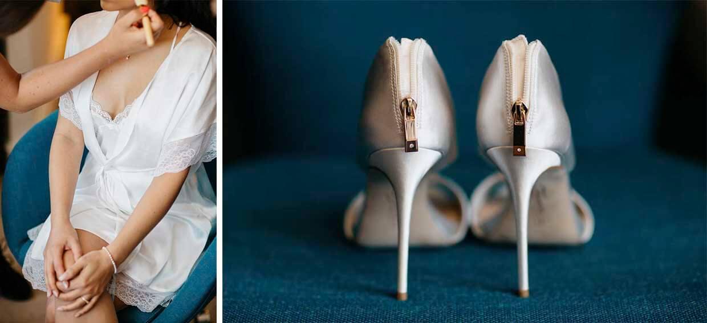 Braut beim Getting Ready und Brautschuhe von hinten