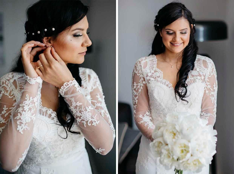 Braut beim Anziehen der Ohrringe und Brautportrait mit Blumenstrauß