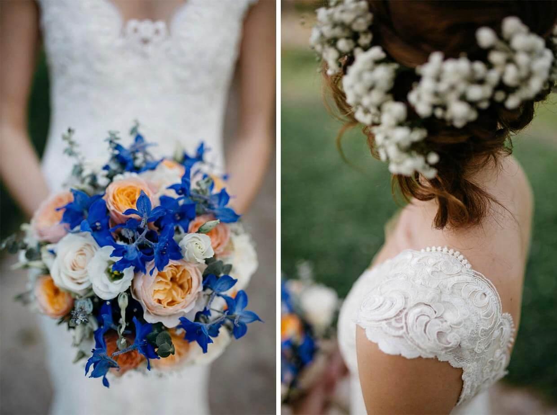 Detailaufnahmen des Brautstraußes und des Brautkleides