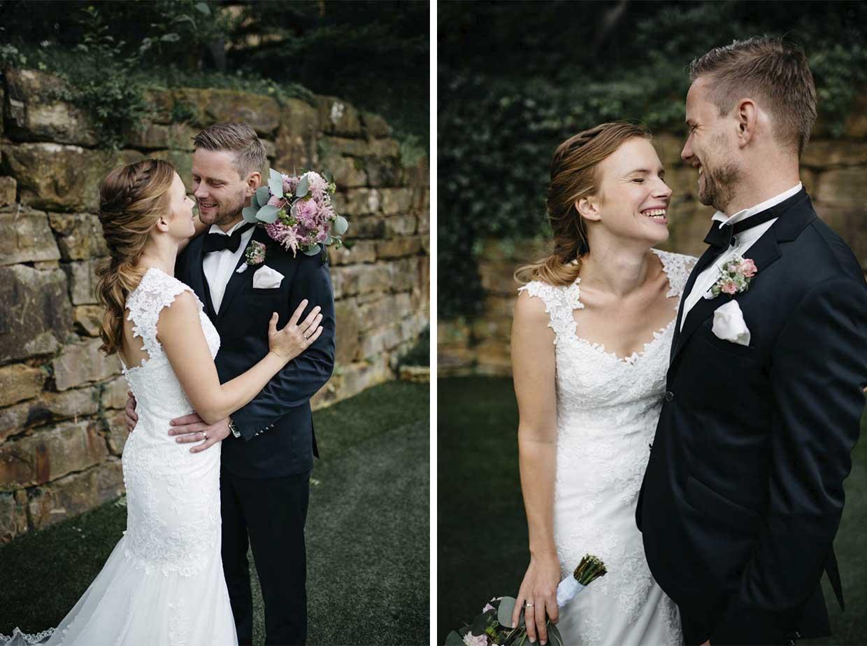 Brautpaar genießt und hat Spaß beim Brautpaarshooting