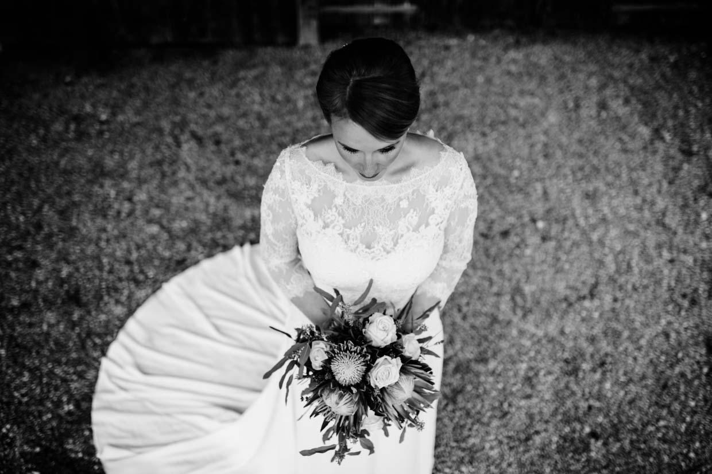 Braut von oben fotografiert