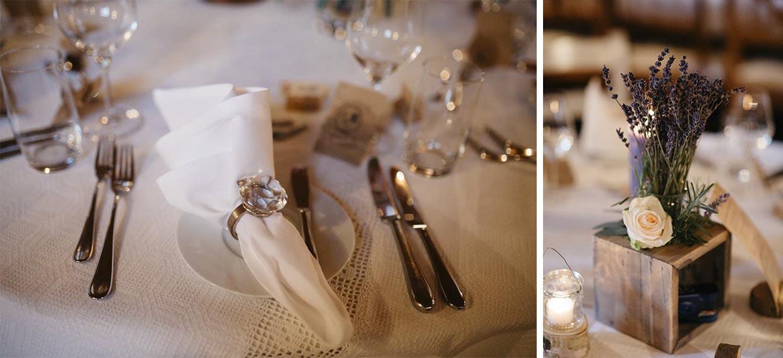 Detailaufnahmen von Tischdekoration auf der Hochzeit