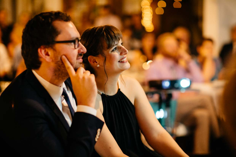 Hochzeitsgäste lachen bei Beamershow