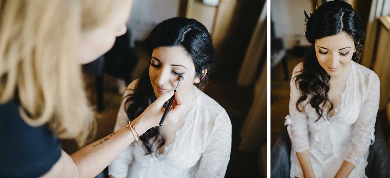 Braut beim Schminken