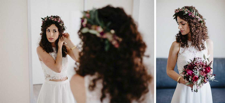 Braut macht sich vor dem Spiegel fertig und Einzelportrait der Braut
