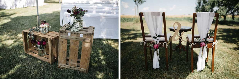 Details der Holzkisten und Stühle der freien Trauung