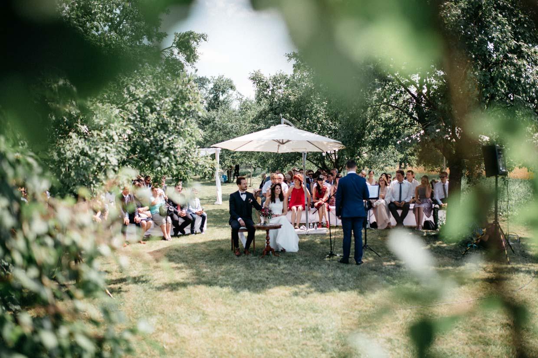 Brautpaar und Hochzeitsgäste während der freien Trauung durch Blätter fotografiert