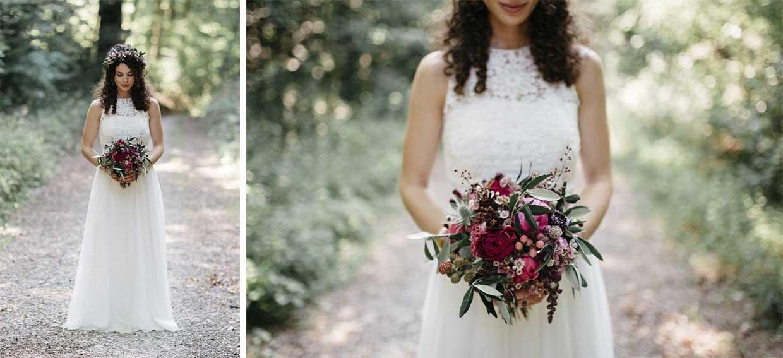Einzelportrait und Detailaufnahme der Braut
