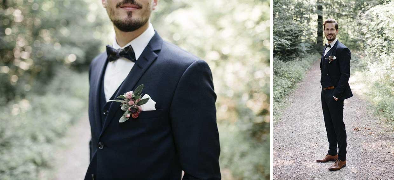 Detailaufnahme und Einzelportrait des Bräutigams