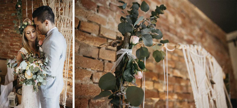 Hochzeitspaar vor Vintagedekoration und Detailaufnahme der Dekoration