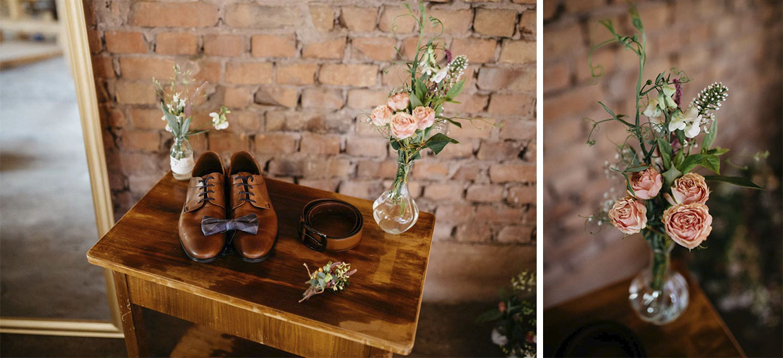 Detailaufnahmen von Schuhen und Blumen