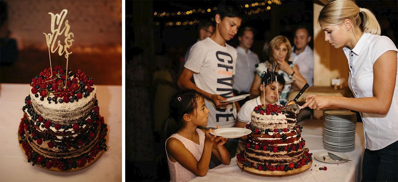 Detailaufnahme der Hochzeitstorte und wie sie an Kinder verteilt wird