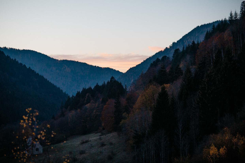 Sonnenuntergang im Tal von Breitnau bei Hinterzarten